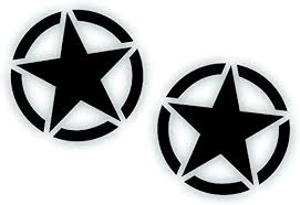 Amazon Com Military Invasion Victory Freedom Star Decal Sticker 4 Inch Restore Or Custom Any Army Truck Compatible With Wrangler Willys In Flat Matte Black Kitchen Dining