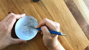 fern drawing on bowl cg sculpture