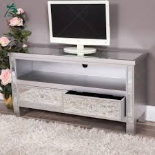 two drawers silver glass mirrored tv