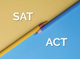 In white are the letters SAT in the top left on a brown background. In white are the letters ACT on the bottom right on a blue background with one yellow pencil and one blue pencil in the middle