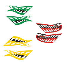2 Pieces Vinyl Large Cartoon Shark Teeth Mouth Decals Stickers Graphics For Kayak Canoe Fishing Boat Rowboat Dinghy Jet Ski Car Truck Van Motorcycle Various Color Wish