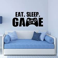 Amazon Com Gamer Wall Decal Eat Sleep Game Controller Sticker Vinyl Decoration For Boy S Bedroom Playroom Or Game Room Handmade