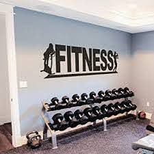 Amazon Com Fitness Wall Vinyl Decal Fitness Wall Vinyl Sticker Sports Decals Fitness Club Gym Design Decor Sports Room Decor Xlarge Black Home Kitchen