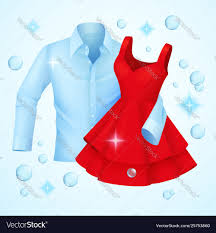 clothes washed blue shirt and red dress