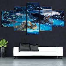 5 Piece Hd Cartoon Dragon Toothless Picture How To Train Your Dragon 3 Movie Poster Wall Sticker Canvas Paintings For Wall Decor No Frame Wish