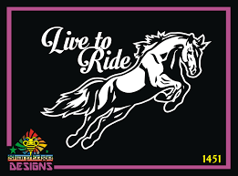 Live To Ride Horse Leaping Vinyl Decal