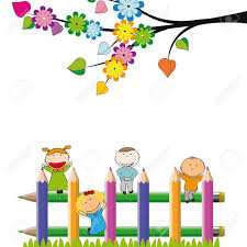 Small And Happy Kids On Colorful Fence Royalty Free Cliparts Vectors And Stock Illustration Image 13535810