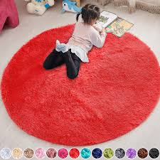 Amazon Com Pagisofe Red Round Rug Circle Rugs 4x4 Ultra Soft Children Rug For Boys Bedroom Fluffy Carpets And Shaggy Rugs Small Teepee Furry Mat Comfy Reading Rug Circular Rug 4x4 Rugs Home
