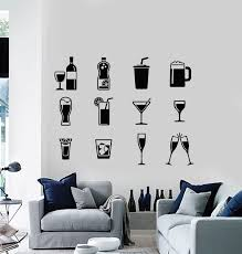 Vinyl Wall Decal Drinking Collection Glass Drink Alcohol Restaurant St Wallstickers4you