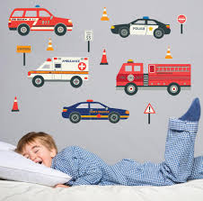 Emergency Vehicle Wall Decals Eco Friendly Reusable Fabric Wall Stick