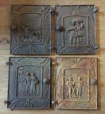 4 antique fireplace doors 4 iron