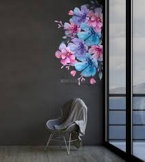 Watercolor Pink Blue Gardenia Floral Bouqets Wall Decal Sticker Wall Decals Wallmur