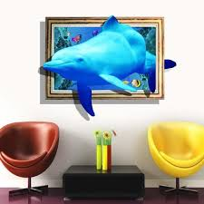 60x90cm Dolphin Wall Sticker Ocean World Bedroom 3d Decal Mural Kids Room Wall Stickers 2019 New Removable Wall Decals Quotes Removable Wall Decor From Gl8888 5 93 Dhgate Com