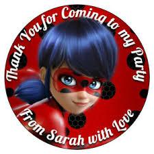 Personalised Miraculous Ladybug Cat Noir Stickers Birthday Party Sweet Cones Ebay