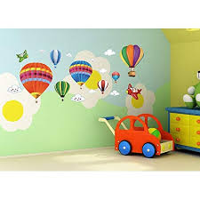 Anber Colorful Hot Air Ballon Aircraft And Clouds Wall Decal Peel Stick Wall Sticker Kids Room Nursery Wall Decor 30 Off Realevaluation Com