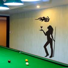 Women Billiards Sticker Snooker Decal Posters Vinyl Wall Decals Decor Room Decoration Mural Bar Billiards Wall Decal Wall Stickers Aliexpress