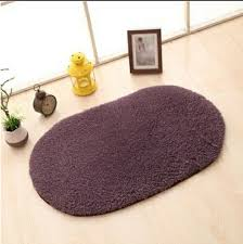 Sunsky Faux Fur Rug Anti Slip Solid Bath Carpet Kids Room Door Mats Oval Bedroom Living Room Rugs Size 50x80cm Gray Purple