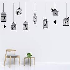 Amazon Com Wewinle Birdcage Wall Decals Wall Stickers Poster For Kids Room Living Room Bedroom Nursery Home Decor Mural Birdcage 1 Kitchen Dining