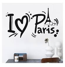 Honana I Love Paris Eiffel Tower Wall Sticker Home Decoration Black Adhesive Pvc Decal Waterproof Vinyl Wallpaper Removable Wall