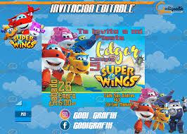 Invitacion Editable Psd Super Wings Invitacion Super Wings