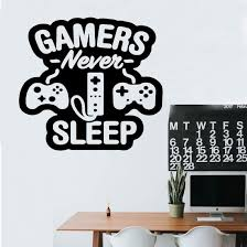 Amazon Com Wall Decals Stickers Gamers Never Sleep For Boys Bedoom Vinyl Sticker Peel And Stick Boys Room Wall Decor Gift For Gamer Gamer Kitchen Dining