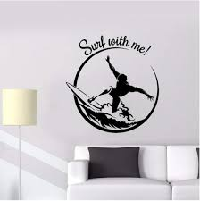 Amazon Com Lixingwei Quotes Wall Sticker Surf With Me Vinyl Window Decal Garage Surfer Surfing Wave Extreme Sports Interior Decor Teen Bedroom 74x77cm Home Kitchen