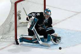 SAN JOSE, CA - JANUARY 19: Aaron Dell #30 of the San Jose Sharks ...