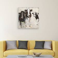Hanging Out Cow 24 X 24 Canvas Wall Art