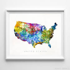 United States Horizontal Watercolor Map Wall Art Poster Gift Print Unframed Ebay