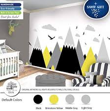 Amazon Com Gray Brimstone Yellow Mountain Wall Decal For Nursery Kid Room High Quality Removable Sticker Eagles Pine Trees Clouds Adventure Decal D576 Handmade