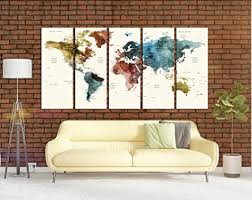 Amazon Com Watercolor Push Pin World Map Wall Art Canvas Print Extra Large Canvas Art For Kids Room World Travel Tracker Map Wall Decor Large Wall Art World Map Multi Panel 5 Pieces