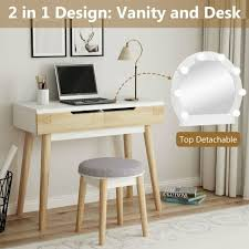 makeup vanity table stool set with 2