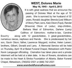 Dolores West | Obituary | Wetaskiwin Times