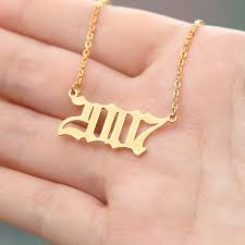 wedding birth year number necklaces