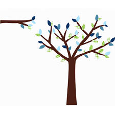 Green And Blue Large Tree Wall Decals For Play Rooms