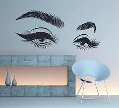 Amazon Com Stickersforlife Eyelashes Eye Wall Decal Eyelashes Eye Wall Sticker Girls Eyes Eyebrows Wall Decor Beauty Salon Decoration Make Up Wall Decor Se006 Home Kitchen