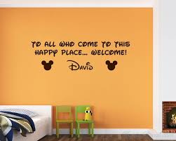 Mouse Custom Name Wall Decal Welcome To This Happy Place Children Quotes