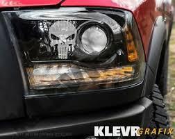 2x Punisher Skull Logo Headlight Decals Etched Glass Vinyl Sticker Mopar Ebay