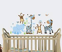Amazon Com Little Boy Blue Baby Boy Wall Decals Jungle Animal Stickers Boys Nursery Baby