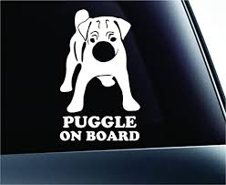 Amazon Com Puggle On Board Dog Symbol Decal Paw Print Dog Puppy Pet Family Breed Love Car Truck Sticker Window White Automotive
