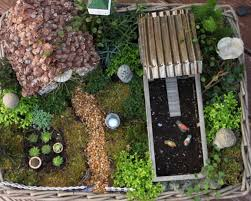 miniature fairy garden in a container