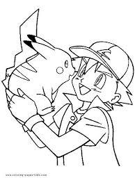 Kleurplaat Ash En Pickachu Pokemonkleurplaten Kleurplaten