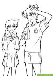 Bộ tranh tô màu conan và ran - cặp đôi dễ thương của chuyện trinh thám -  Jadiny