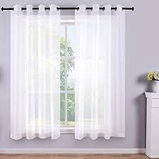 Amazon Com White Short Sheer Curtains 45 Inch Length Grommet 2 Panels Solid Faux Linen Gauze Voile Drapes Window Semi Sheer Curtains For Small Window Bathroom Kids Room Kitchen Wide 52x45 Long Set