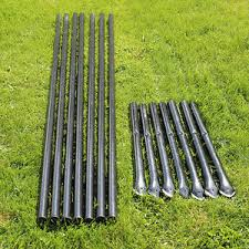 Steel Fence Posts Galvanized Black Pvc Coated 7 Pack For 5 5 Animal Fencing Ebay