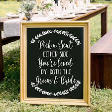 Pick A Seat Not A Side Chalkboard Decal Sign Seating Sign Etsy