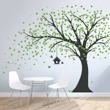 Amazon Com Wallums Large Windy Tree Wall Decal With Birdhouse 96 Tall Black Trunk With Lime Green Leaves Home Kitchen