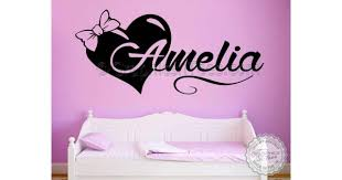 Girls Personalised Bedroom Nursery Wall Sticker Decor Decal With Bow Heart