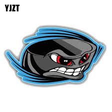Yjzt 12 7cm 7 5cm Cartoon Ice Hockey Puck Face Pvc Window Car Sticker 11 00019 Car Stickers Aliexpress