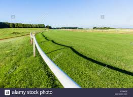 Green Grass Horse Race Track Railing Fence On Horizon Blue Sky Training Equestrian Landscape Stock Photo Alamy
